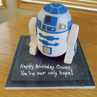 R2D2 Cake For Owen Made this for my friend's son. 1/2 chocolate, 1/2 vanilla with RKT legs. Used 6 inch round pans and half of the ball pan.