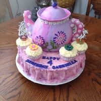 "4 For Tea Teapot cake and sugar cups with cupcake ""Tea"" for 4 years old tea party themed birthday"