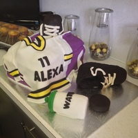 "Fondant Covered Hockey Bag A Triple Layer Cake Of Chocolate Banana Amp Vanilla Chai With Chocolate Ganache Filling Skates Amp Wate Fondant covered ""hockey bag"": a triple layer cake of chocolate banana & vanilla chai with chocolate ganache filling. Skates &..."
