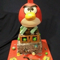 Angry Birds Yummy 3-tier: Red Velvet, Mocha and Andes Chocolate MintAll tiers are cake, single internal pipe support, solid blocks are rice cereal...