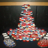 Buffalo Bills Cupcake Tower A cupcake tower for a bride with a Buffalo Bills theme!! We did the jerseys in the front to represent their wedding date. All mmf toppers....