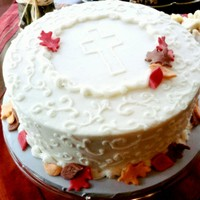 Alice's Baptism Fall baptism cake. Buttercream, with fondant leaves.