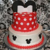 Minnie Mouse Birthday Buttercream with fondant accents. Bottom layer cake is cookies & cream and top cake is strawberries & vanilla marble. Thanks to...