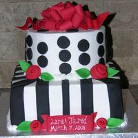 Lara's Cake BC iced w/fondant stripes/dots & GP bow & flowers