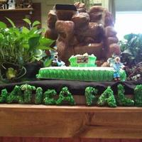 "Made This For Dhs Work Pond Seminar The Waterfall Is A Pondless Water Feature Sheet Cake With A 8 Tear Shape And Rice K Treats For *Made this for DH's work pond seminar. The waterfall is a ""pondless"" water feature. Sheet cake with a 8"" tear shape and..."