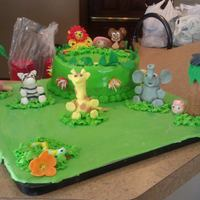"Jungle Themed Baby Shower Just a small 8"" banana cake cover in cream cheese frosting. All Animals and trees are fondant. TFL!"