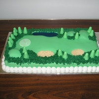60Th Birthday  I made this cake for my brother. The sand traps are made from crushed biscuits and I made water from a piping gel recipe i have here.I cant...