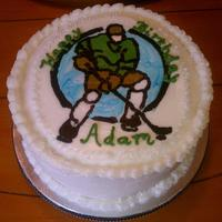 Hockey Fbct A quick frozen buttercream transfer of a hockey dude.