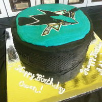 Hockey Puck Cake Sharks FBCT on all buttercream giant hockey puck.