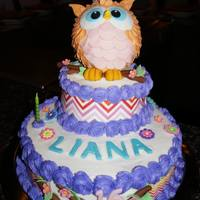 Sweet 16 Chevron Owl Fondant Owl & accents, Buttercream icing with Chevron frosting sheets.
