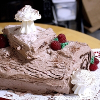 Buche De Noel cocoa sponge cake filled with fresh raspberry and seedless raspberry jam/whipped cream. The outside is cocoa whipped cream - decorated with...