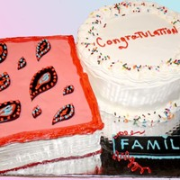 Congratulations Family Cake Multi diverse family wished for a cake that spoke to many events. The book is covered with fondant and is made of chocolate cake with...