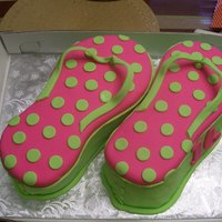Flip Flops pink and green satin ice fondant decorations on vanilla butter cake