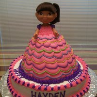 Dora Party Dress Wonder mold cake with base all butter cream