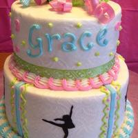 Dancer Birthday Cake *For my daughter's birthday. There are 5 different dancer silhouettes around the bottom tier made out of a sugar sheet.