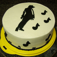 "Michael Jackson Smooth Criminal For my grandkids' birthday. 10"" round (serves 38); all BC with black fondant cutouts. printed off MJ's sillouette from the..."