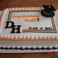 Graduation Cake All buttercream (except the hat). The letters D and H are frozen buttercream transfers.
