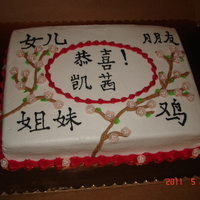 Asian Themed Graduation Cake This cake was done for a girl that was having an asian themed graduation party. Her mother gave me an envelope with the symbols and asked...