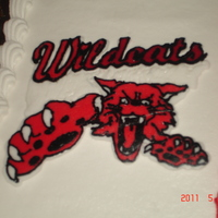 Wildcats Logo Up close of a frozen buttercream transfer that I used for a graduation cake. Love doing this type of decoration.