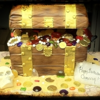 Pirate Treasure Chest Fondant covered chocolate and vanilla cake with isomalt jewls,and a chocolate skull.