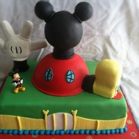 Mickey Mouse Club House Mickey mouse club house made from cake and rice cereal treats