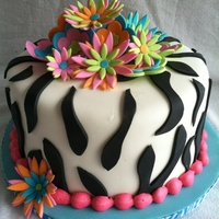 Zebra And Flower Birthday Cake zebra print with fondant and gumpaste flowers