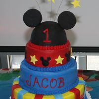 Mickey Mouse Birthday Cake This cake was for my son's first Birthday. It is iced in buttercream with fondant accents. The ears are made of rice krispies and...