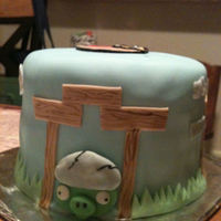 "Angry Birds This is a 6"" double layer triple chocolate fudge cake with buttercream icing, covered in fondant. With fondant decorations and hand-..."