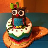 Owl Chevron Birthday Cake   Owl chevron birthday cake