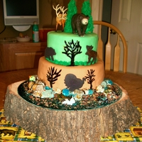 Hunting Cake My son's 7th bday cake. The bear, turkey and elk are made of chocolate. The duck and fish onthe bottom layer are made of fondant. The...