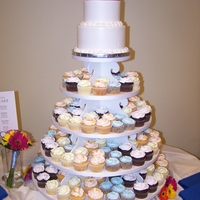 Cupcake Wedding Tower Cupcake flavors were - Blueberry Bliss, Orange Creamsicle, Chocolate, Lemon and Almond