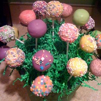 Easter Spring Inspired Cake Pops  Here is my first attempt at cake pops!! Made them for our family Easter party. It's vanilla cake and vanilla frosting, coated with...