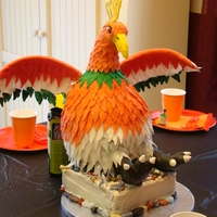 "Pokemon Ho-Oh Cake Chocolate cake with Princess Cake and Cookie BC and Almond Fondant. Body was carved from the dress pan and 2 8"" rounds. Bottom is WASC..."