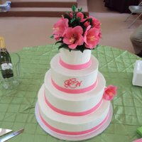Easterlin Wedding gum paste flowers on wedding cake, hot pink