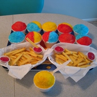 Snow Cones And French Fries Snow Cones are two stacked vanilla cupcakes with vanilla buttercream, covered in colored sugar.French Fries are vanilla mini cupcakes...