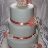 3-Tier Fondant Wedding Cake Fondant Covered Wedding Cake with Gumpaste Flowers