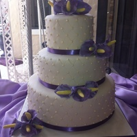 Fondant Wedding Cake With Gumpaste Cala Lillies   Fondant wedding cake with gumpaste cala lillies.