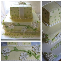 Hydrangea Birthday Cake   IMBC with gumpaste hydrangeas and fondant accents.