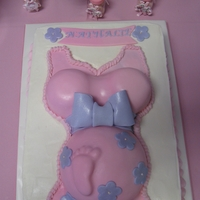 Pregnant Belly Cake   Buttercream sheet cake, Fondant Covered Pregnant Belly, Fondant accents