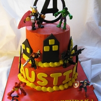 Avenger's Birthday Cake   Buttercream cake with fondant accents. Purchased toppers