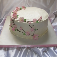 Cherry Blossom Cake IMBC cake with gumpaste cherry blossoms and fondant stems/branches