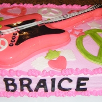 Rock Star Guitar Cake Made for a little girl's 80's rock star theme birthday party