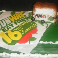 Subway Birthday Cake Birthday cake for a girl that loves Subway sandwiches