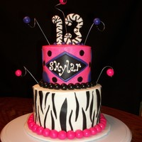 Pink & Purple Zebra Striped Tier Teen Birthday 2-layer 6-inch cake and 2-layer 4-inch cake iced with B/C. Decorations are MMF.