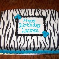 Blue And Zebra Striped Teen Birthday 11 x 15 iced with B/C and MMF decorations.
