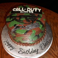 Call Of Duty Black Ops Cake 2 Layer 8-inch iced with B/C and decorated with MMF.