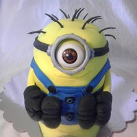 Minion Chocolate cake with vanilla buttercream covered in fondant