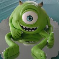 Mike Wazowski   Chocolate cake with chocolate ganache covered in fondant