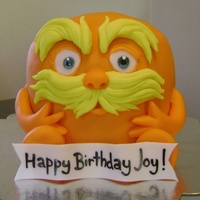 The Lorax   Vanilla cake with chocolate ganache covered in fondant.