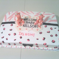 Sweet Safari Giraffe Baby Shower Cake Giraffe baby shower cake. Was going off the Sweet Safari decorations the client was using for the baby shower. White cake with white...